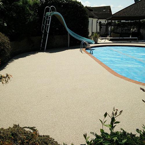 bespoke resin swimming pool area